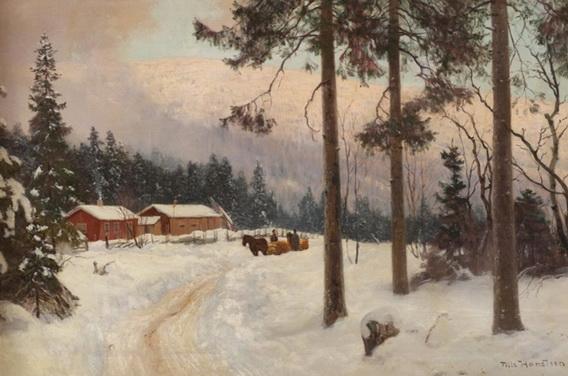 Nils Hansteen - Vinterlandskap med hest og slede