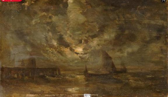 Louis Artan de Saint-Martin - Marine au clair de lune
