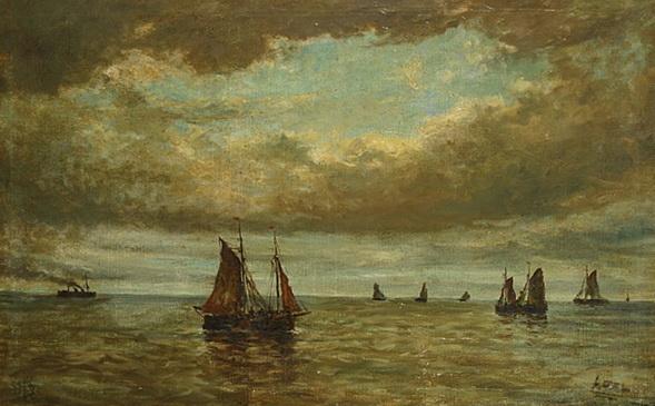 Louis Artan de Saint-Martin - Zeilboten op volle zee