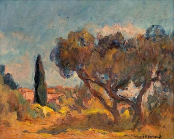 Marcel Arnaud - Paysage aux grandx arbrex