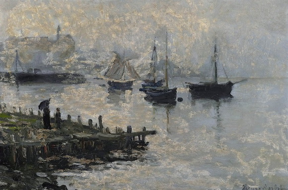 Hans Heyerdahl - Harbour scene with ships