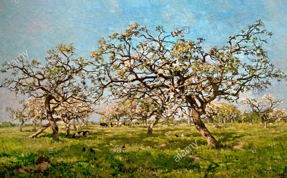 Isidore Verheyden - An Orchard in Spring