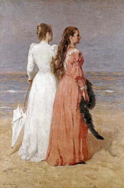 Isidore Verheyden - Elegant Women on a Beach
