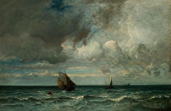 Jules Dupr - Barges fuyant devant