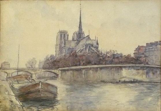 Pierre-Jacques Pelletier - Vue de Notre-Dame de Paris