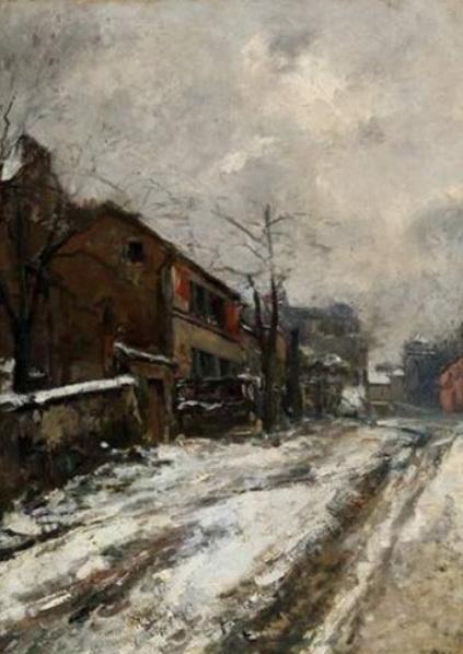 Pierre-Jacques Pelletier - Rue de village enneigee