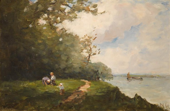 Nathaniel Hone the Younger - on the banks of the seine