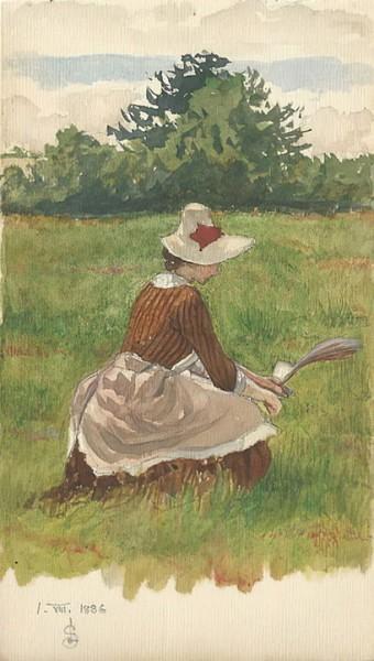 Joseph Edward Southall - Woman gathering beach grass