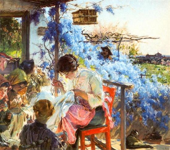 Jose Malhoa - nightingale balcony