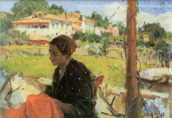 Jose Malhoa - In the shade of the vine