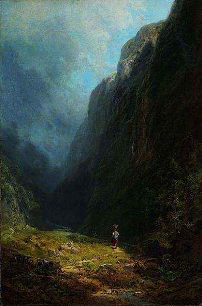Carl Spitzweg - In the Alpine High Valley Landscape