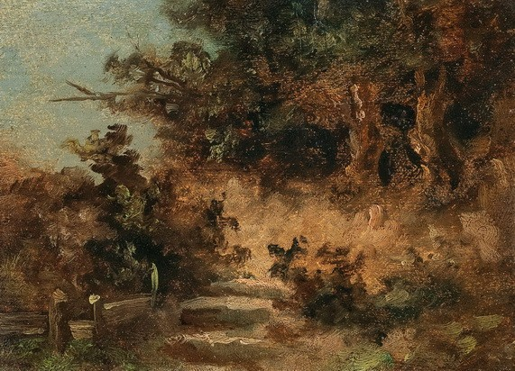 Carl Spitzweg - A Small Landscape with Stairs