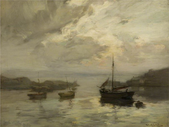 James Campbell Noble - Harbour Scene with Fishing Boats