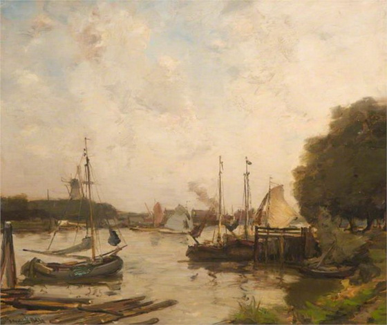 James Campbell Noble - Dutch Canal Scene