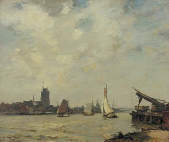 James Campbell Noble - Ships on the Merwede at Dordrecht