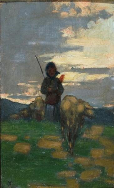 Niccolo Cannicci -Shepherd with flock