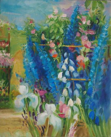 Paul Collomb - Iris blancs et delphiniums