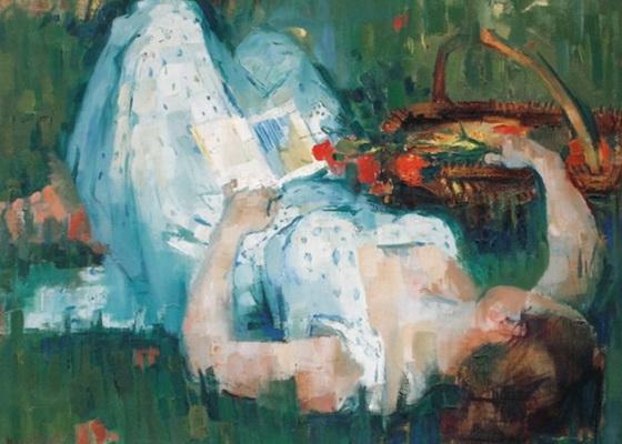 Paul Collomb - La lecture dans l'herbe