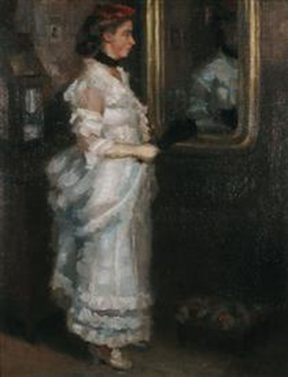 Periklis Pantazis - lady in the mirror with a fan