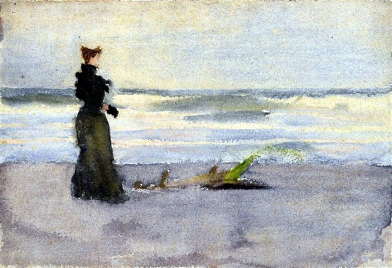 Thomas Pollock Anshutz - Edwardian woman on the Beach