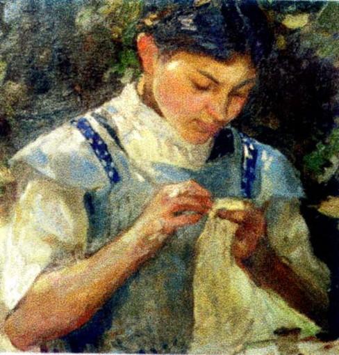Ipolit Strambu - girl sewing