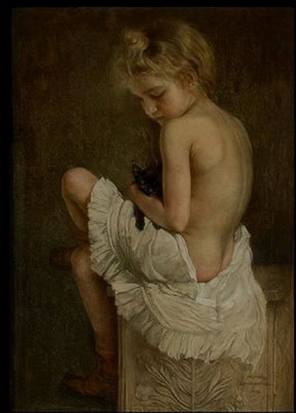 Alfred Sohn-Rethel - YOUNG GIRL WITH BLACK KITTEN