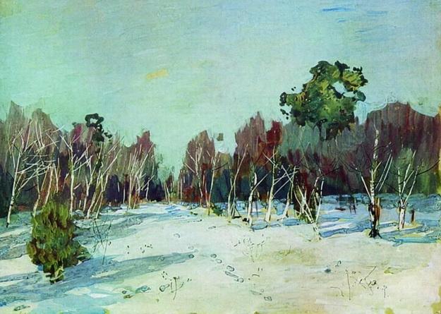 Levitan -  Сад в снегу