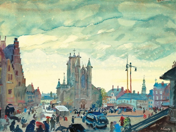 Oskar Laske - View of the St. Bavo cathedral in Ghent