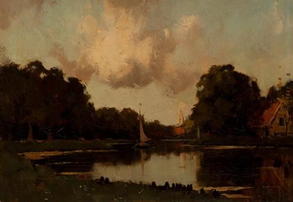 Nicolaas Bastert - View of the river de Vecht