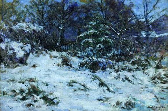 Gaines Ruger Donoho - Snow Laden Trees Near Garden Studio