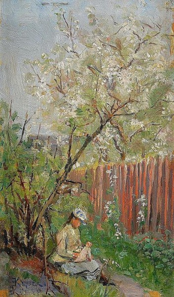 Hilda Elisabeth Keyser - Flicka under blommande
