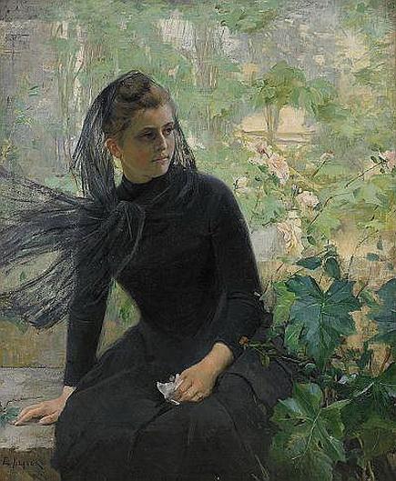 Hilda Elisabeth Keyser - Flicka i svart Signerad