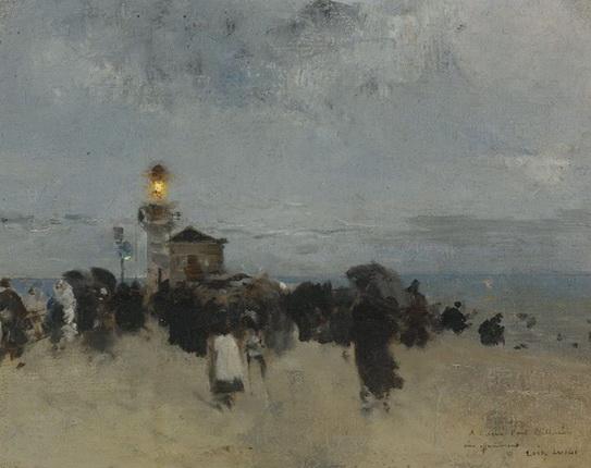 Luigi Loir - Paris Figures Near a Lighthouse