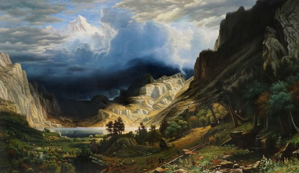 Albert Bierstadt - storm rocky mountains