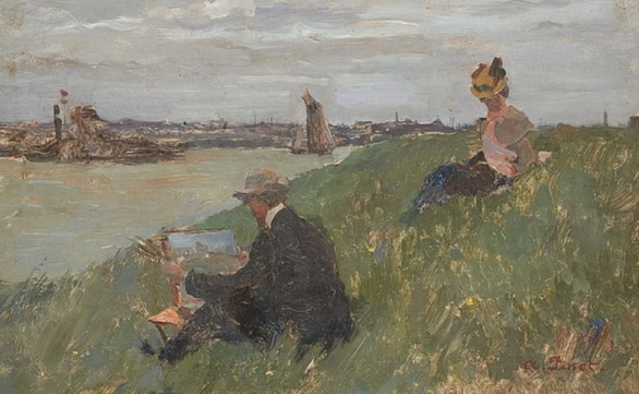 Albert Pinot - Peintre avec son chevalet