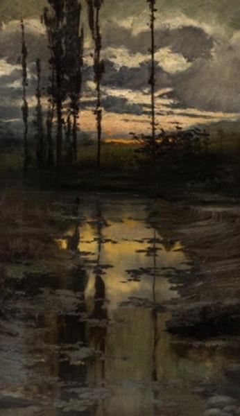 Enrique Serra y Auque - Sunset over a Pond