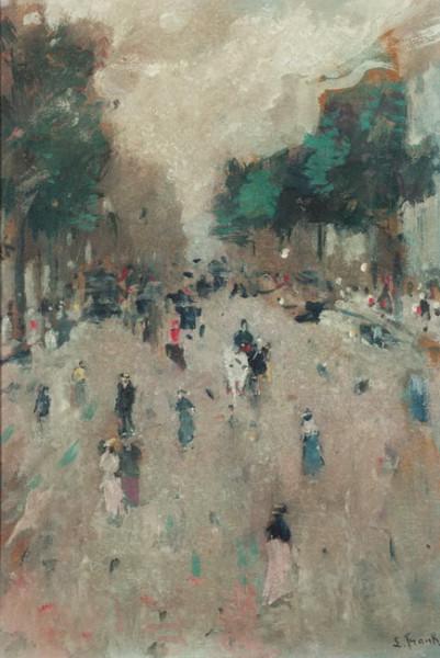 Lucien Frank - Elegant figures in a street