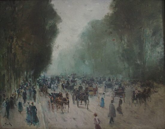 Lucien Frank - Carriages in the Bois de Boulogne