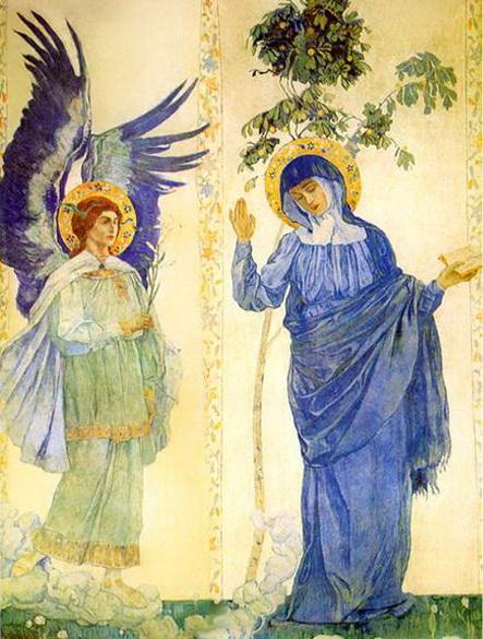 Нестеров М.В. -  Благовещение. Архангел Гавриил и Дева Мария