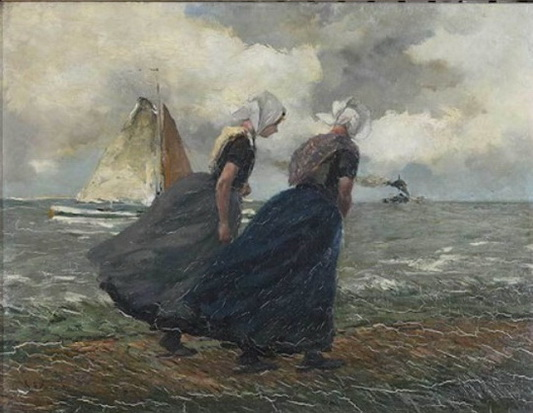 Gustave Flasschoen - Two Girls Strolling on a Windy Beach