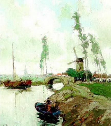 Gustave Flasschoen - Summer  A river landscape