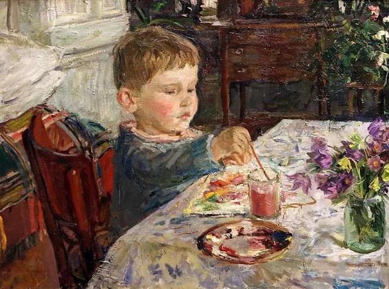 Аркадий Пластов - Внук рисует