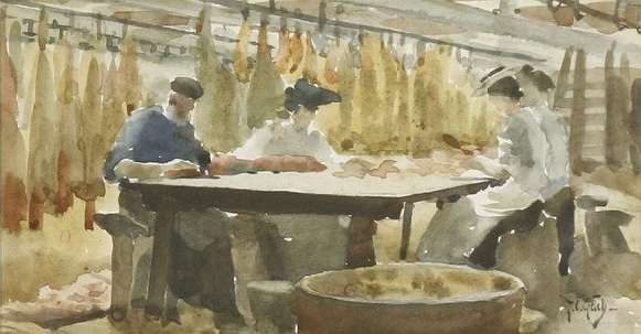 Thomas Cooper Gotch - BACON TRIMMING AT CALNE