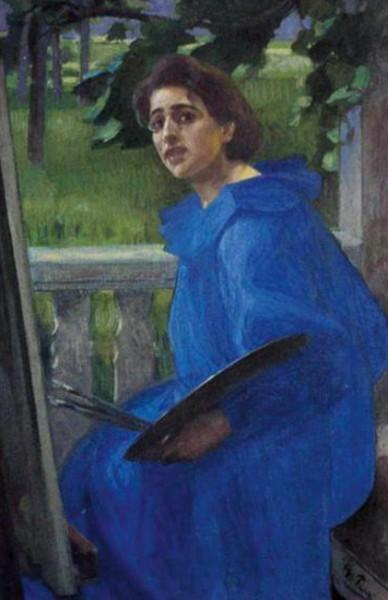 Georg Pauli - Hanna in a Blue Dress