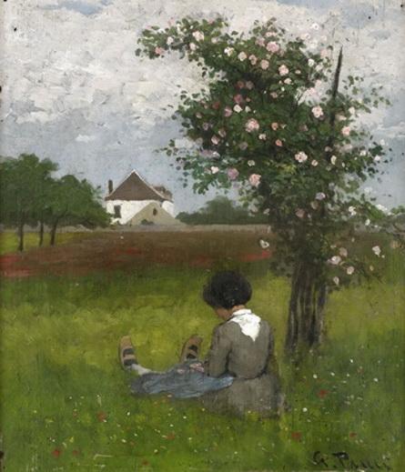 Georg Pauli - A girl sitting under a rose bush