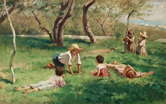 Georg Pauli - Children playing outdoors