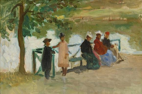 Georg Pauli - Damer sittandes pa en bank