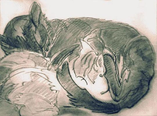 Nikolaj Tarhov - Кошка с котенком.
