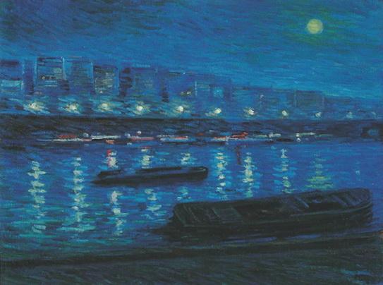 Nikolaj Tarhov - Барки на Сене ночью 1904