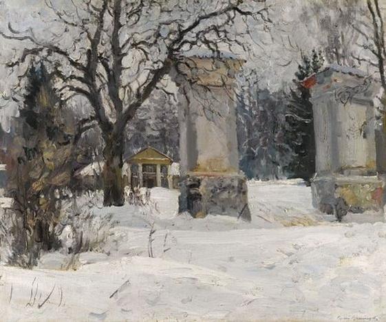Sergei Arsenevich Vinogradov Entrance to an Estate in Winter -